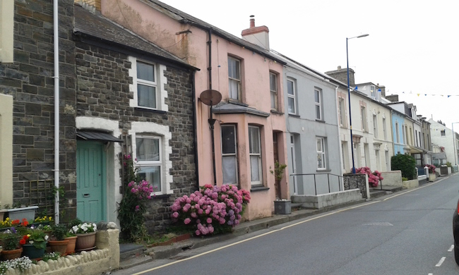 Homes on the main street in Borth, Wales