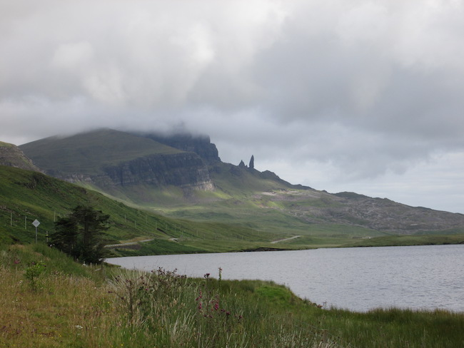 The clouds over the mountains added a mystical atmosphere to our Old Man of Storr visit.