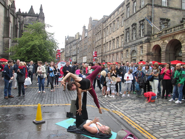 "Performers often dress up or do small acts along the ""Royal Mile"" to interest visitors in their shows"