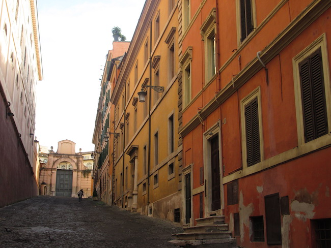 Brightly colored buildings in Rome