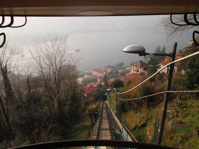 A view from the front window of the funicular train.