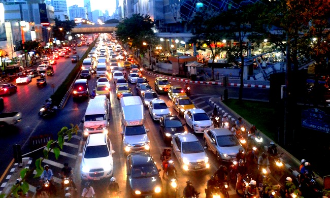 Evening rush hour near Siam Station, Bangkok