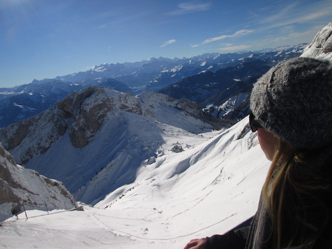 Gazing at the sights of snowy Mount Pilatus