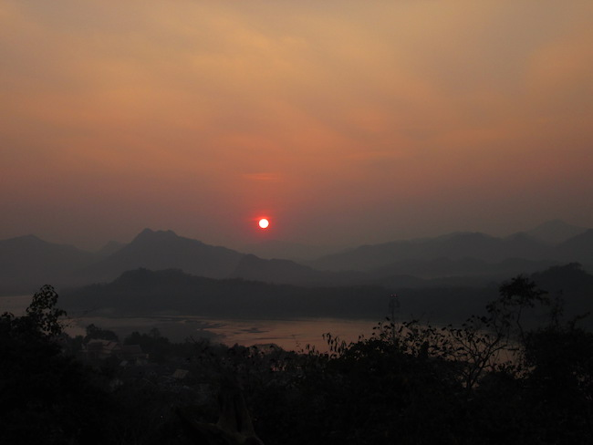 A view of the sunset from the temple