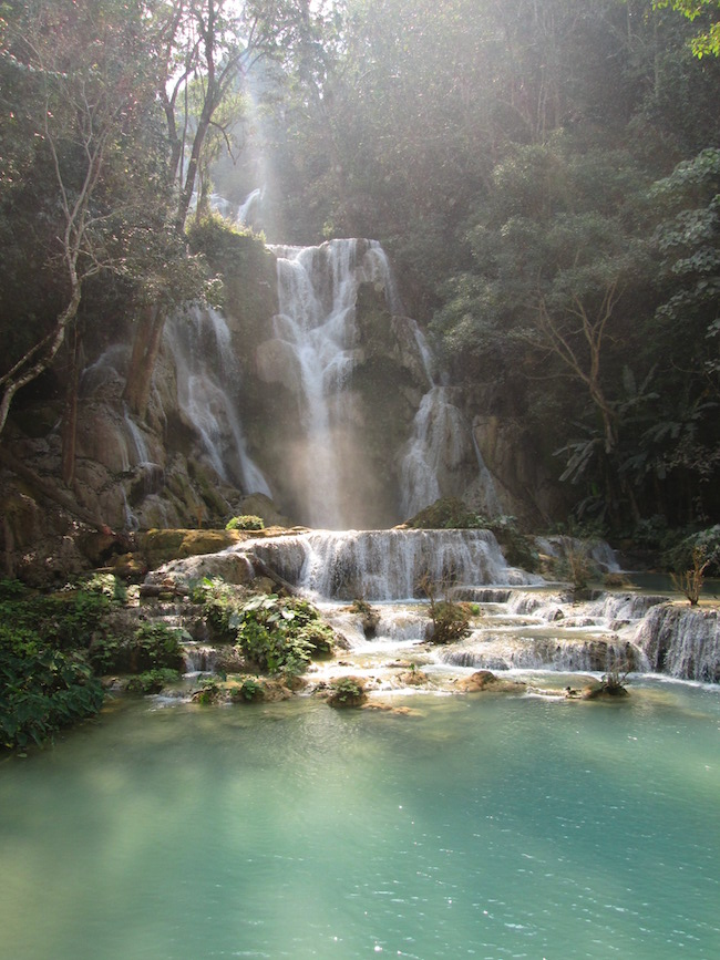 The largest waterfall in the Kuang Si area