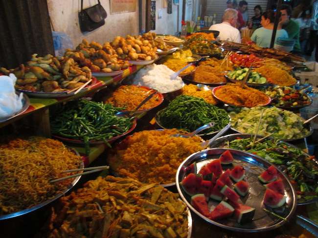 One of five dinner buffets available at the night market