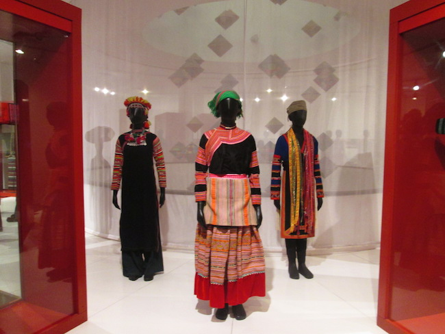 A display of traditional clothing in the Vietnamese Women's Museum
